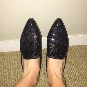 Shelly's London glitter black mules